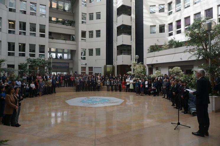 7일(현지시간) 프랑스 리옹 인터폴 사무총국에서 제1회 순직경찰 기념의 날 행사가 개최된 모습./사진=경찰청