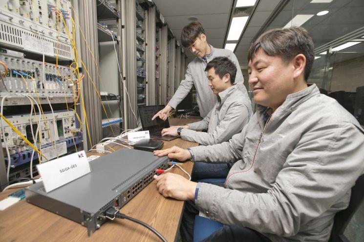 KT가 8일 세계 최초로 광케이블이 아닌 랜(LAN)선을 기반으로  5Gbps/2.5Gbps 인터넷 속도제공 기술을 상용화 하였다고 밝혔다. KT 직원들이 랜선을 통해 5기가 인터넷 속도품질을 검증 하고 있다.