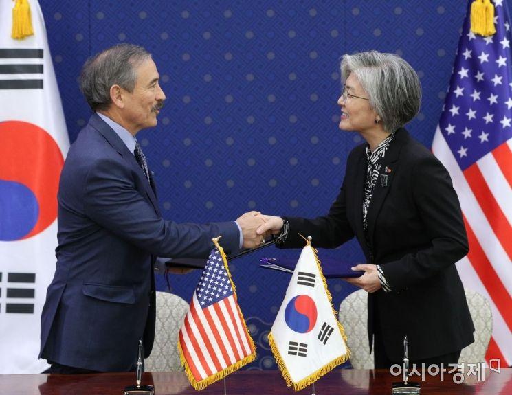 [포토] 악수하는 강경화 장관과 해리스 미국대사