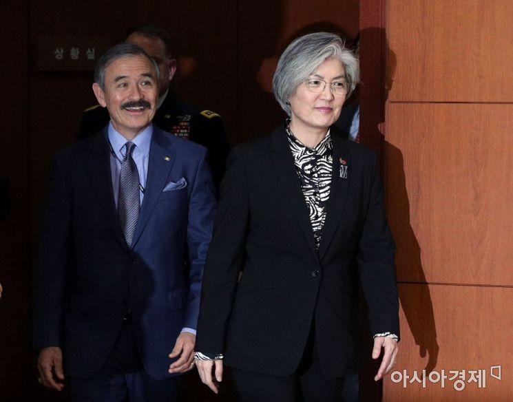 [포토] 서명식 참석하는 강경화 장관과 해리스 미국대사