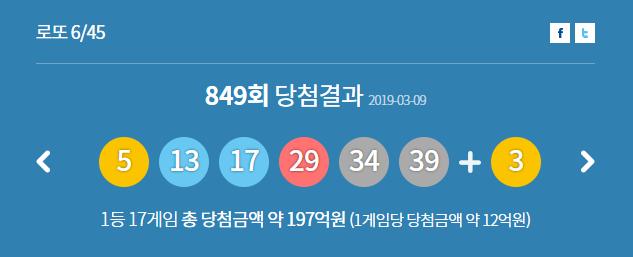 제849회 로또 당첨 번호 / 사진 = 동행복권 홈페이지 캡처