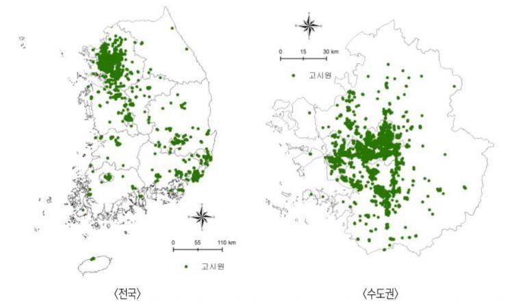 전국 및 수도권 고시원의 공간적 분포 / 한국도시연구소