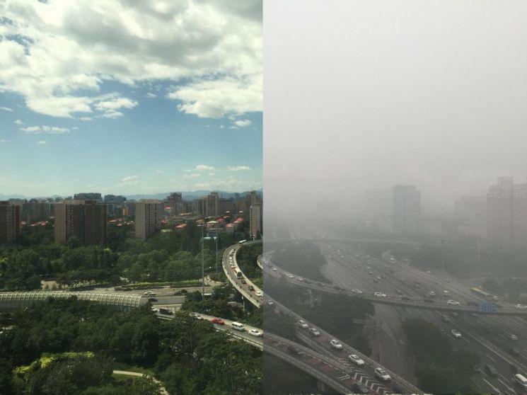 대기오염이 만든 베이징의 두 모습. [사진=하버드대]