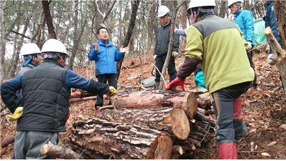 '산림병해충 방제컨설팅' 자문위원(퇴직 공무원)이 현장 관계자들에게 소나무재선충병 훈증처리에 관한 노하우를 전수하고 있다. 산림청 제공
