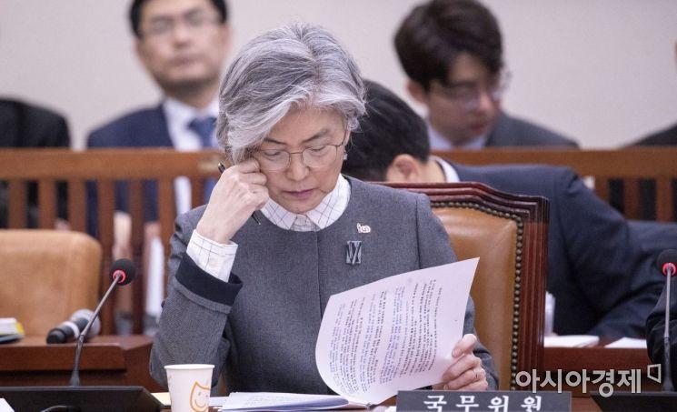 [포토] 자료 확인하는 강경화 장관