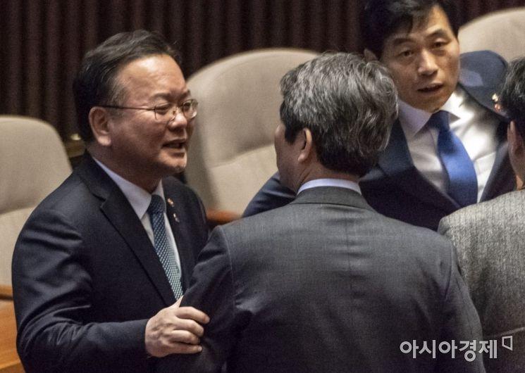[포토] 국회 본회의 출석한 김부겸 장관