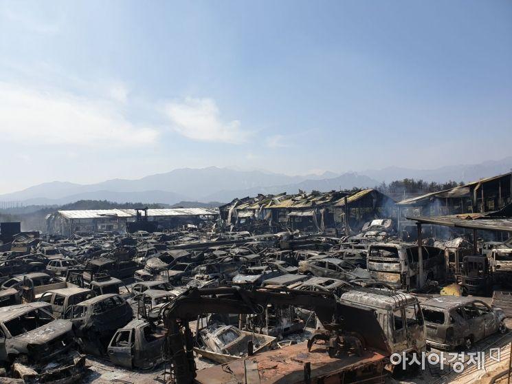 5일 화마가 휩쓸고 간 속초시의 한 폐차장 모습. 불길에 타이어가 녹아버리면서 폐차들은 폭삭 주저앉았고 잔해가 어지럽게 널려 있었다./사진=유병돈 기자