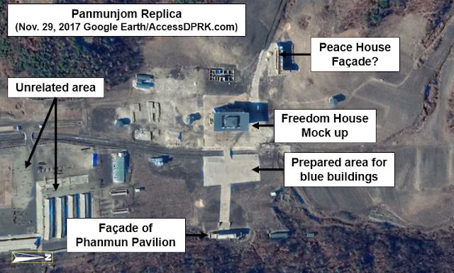 2017년 11월 29일 위성 사진에서 포착된 '판문점 모형' 건물들. <자료:액세스DPRK(AccessDPRK)>