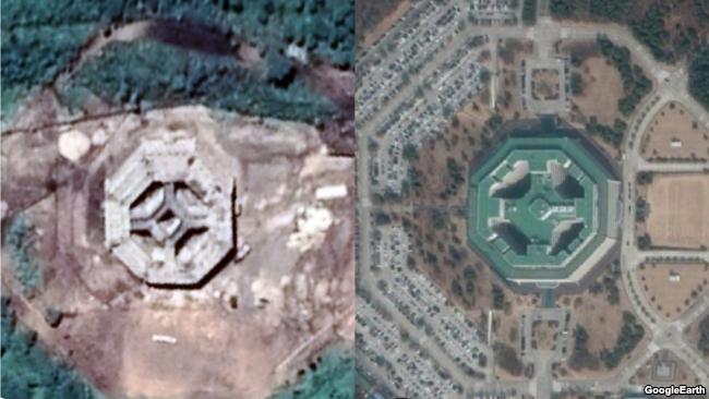 북한이 평안북도 영변군 고성리 인근의 군사 훈련장에 건설한 8각형 모양의 대형 건축물(왼쪽. CNES/에어버스 제공 '구글어스')과 한국 육해공 3군 본부가 위치한 충청남도 계룡시 계룡대(오른쪽. 디지털글로브/SK텔레콤 제공 '구글어스') 위성사진 비교. 북한은 최근 8각형 건물의 주변 도로와 조경까지 한국 계룡대와 유사하게 조성한 것으로 확인됐다.