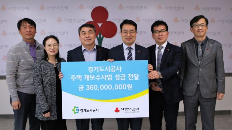 경기도시公 '저소득층 주거 개보수 성금' 3억6천만원 전달