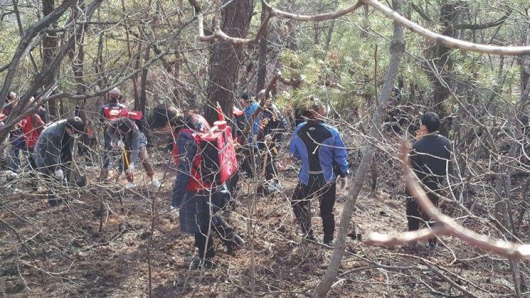 노원구청과 소방소 직원들 1000여명이 수락산 산불을 진화했다.