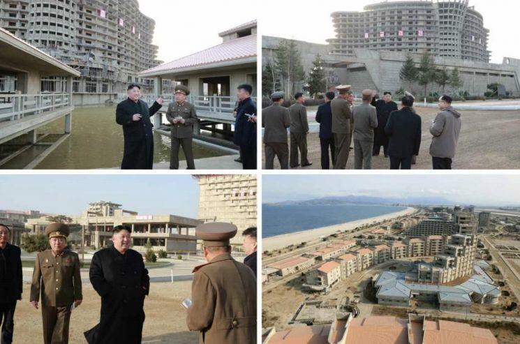북한 매체들이 보도한 원산갈마해안관광지구의 건설현장 모습.