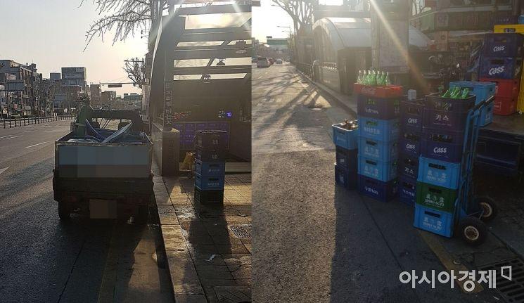 광장시장 인근 자전거 우선 차로에 정차된 물류 상하차 트럭(왼쪽)과 자전거 차로에 맥주와 음료 박스가 쌓여 있는 모습(오른쪽).