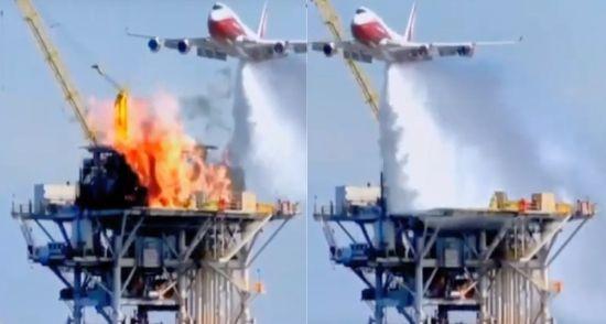 석유 시추선에서 발생한 화재도 한 방에 잠재우는 '슈퍼탱커'의 위력. [사진=유튜브 화면캡처]