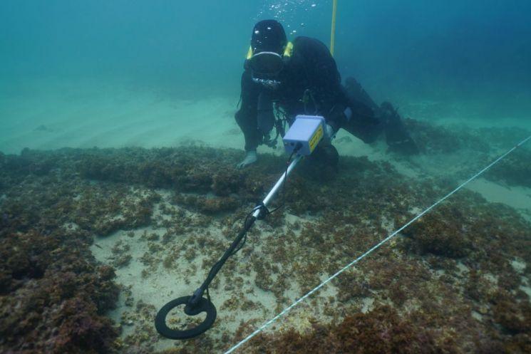 금속탐지기 조사 제주 신창리 인근 해역 탐사