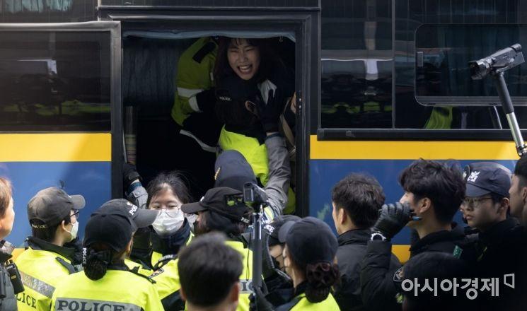 """[포토] """"반민특위 부정하는 나경원은 사퇴하라"""""""