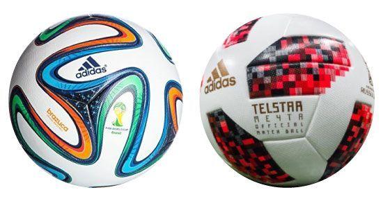 축구공에 담긴 첨단기술은 놀라울 정도입니다. 2014년 브라질 월드컵의 공인구 '브라주카'(사진 왼쪽)와 2018년 러시아 월드컵의 공인구 '텔스타18'(사진 오른쪽)의 모습. [사진=유튜브 화면캡처]