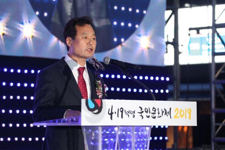 [포토]박겸수 강북구청장 '4.19혁명 국민문화제' 공식행사 선포