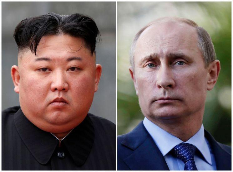 김정은 북한 국무위원장(왼쪽)과 블라디미르 푸틴 러시아 대통령 <사진=로이터연합>