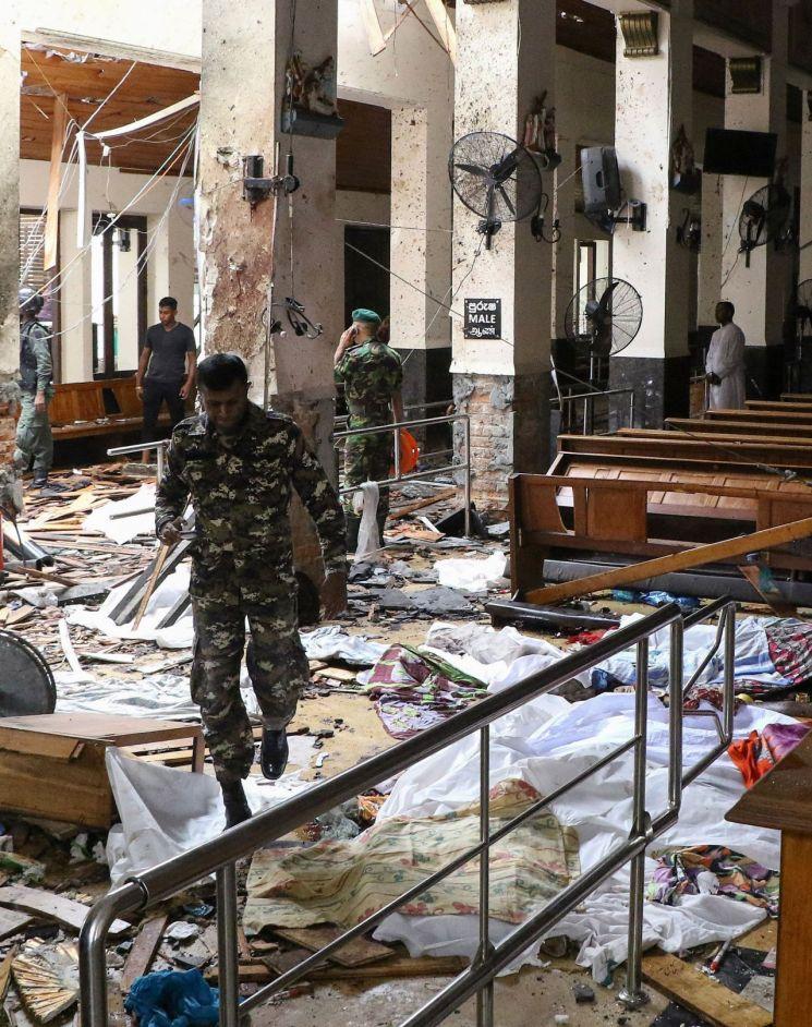 스리랑카 부활절 폭발 테러 현장. 사진 출처=AFP 연합뉴스
