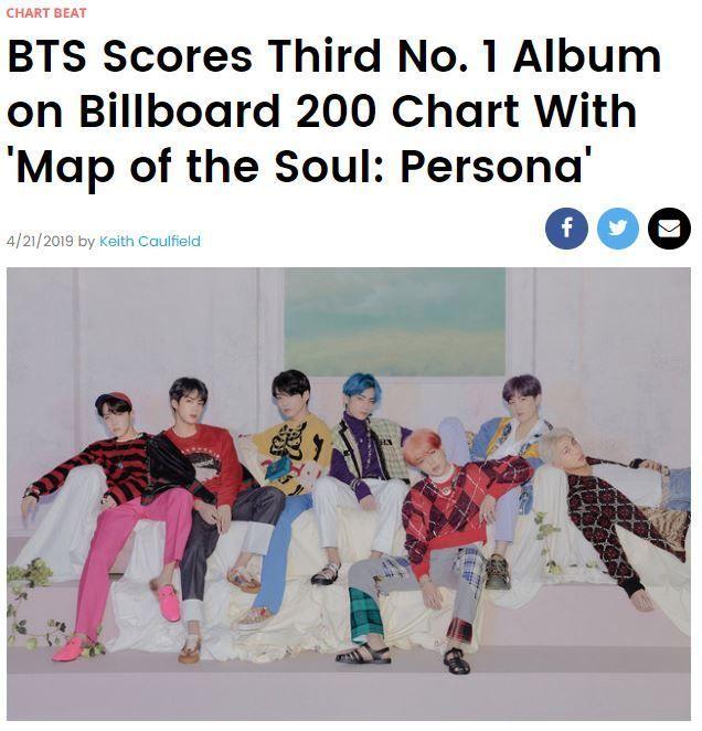 지난 12일 발매된 방탄소년단의 새 앨범 '맵 오브 더 솔 : 페르소나'(Map of the Soul: Persona)가 메인 앨범 차트 '빌보드 200'에서 세번째 1위에 올랐다/사진=빌보드 홈페이지 캡처