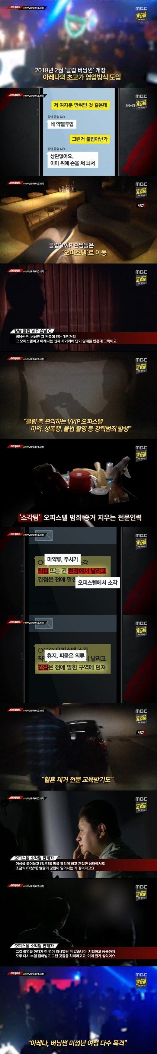 서울 강남의 유명 클럽들이 성범죄, 마약범죄 등을 은폐하기 위해 전문팀을 운영했다는 정황이 드러났다/사진=MBC '스트레이트' 화면 캡처