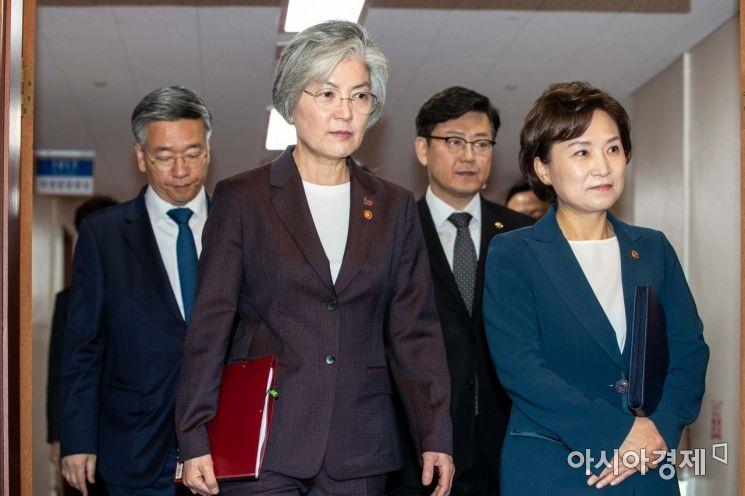 [포토]회의실 들어서는 강경화 장관-김현미 장관