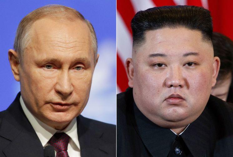 블라디미르 푸틴 러시아 대통령(왼쪽)과 김정은 북한 국무위원장 <사진=AP연합>