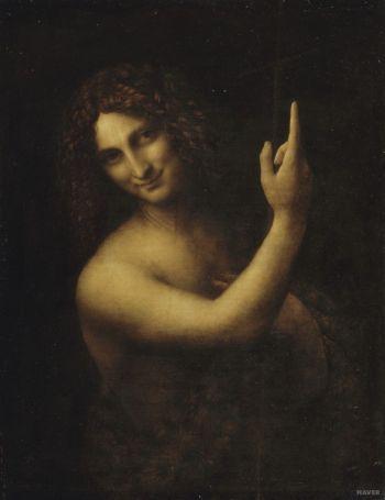 레오나르도 다빈치 '세례자 요한', 1513년~1516년(69 x 57 cm, 루브르 미술관, 프랑스 파리)