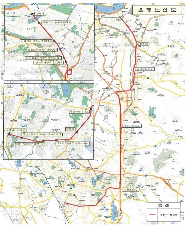 ▲수원버스터미널~잠실역 M버스 노선도(자료: 국토교통부)