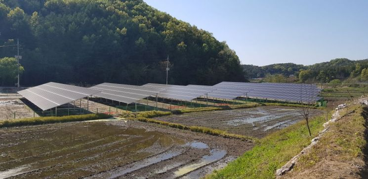 2일 오후 찾은 충남 공주시 이인면의 한 농촌형 태양광발전소. 지난해까지 벼농사를 짓던 논에 올해 초 태양광 패널을 설치했다. 태양광발전소 바로 옆 논에서는 모내기를 앞두고 물 대기가 한창이다.