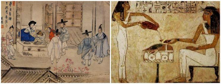 신윤복 '주사거배(술집에서 술을 들다·왼쪽)'와 이집트 벽화