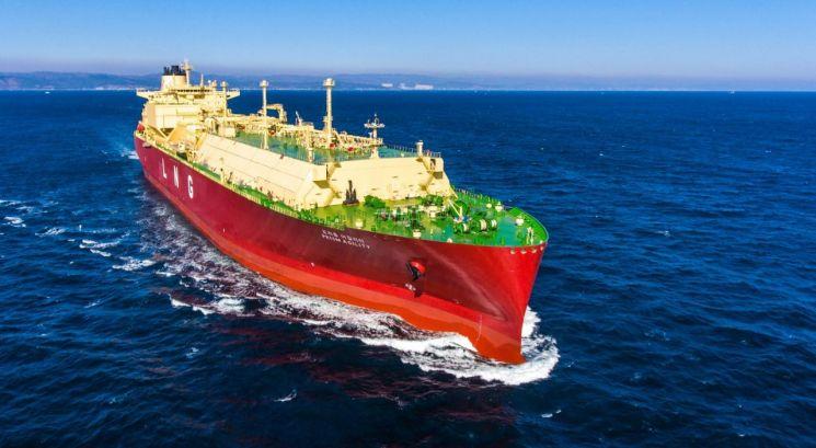 현대중공업이 건조해 SK해운에 인도한 액화천연가스(LNG) 운반선.(사진=현대중공업)