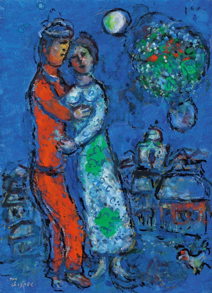 마르크 샤갈 '꽃을 든 커플과 수탉(Le Couple au Bouquet et Coq)', oil on canvas, 33×24cm, signed on the lower left, Estimate: 5억~8억원  [사진= 서울옥션 제공]