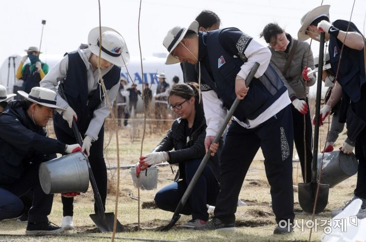 [포토] 몽골 사막화 지역에 나무 심는 대한항공 임직원들