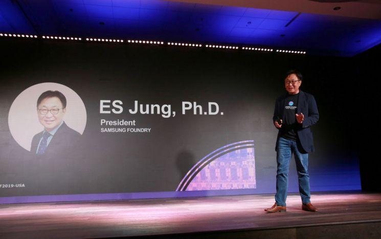 14일(현지 시간) 미국 샌타클래라에서 열린 '삼성 파운드리 포럼 2019'에서 삼성전자 파운드리 사업부 정은승 사장이 기조연설을 하고 있다. 삼성전자 제공