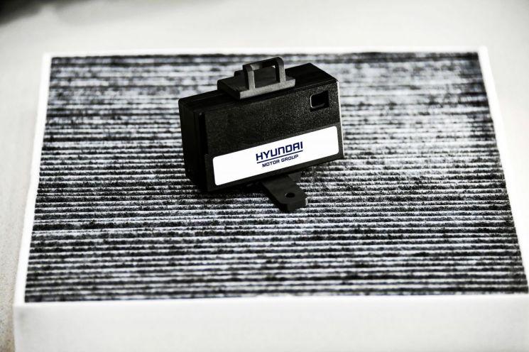 현대기아차 지능형 공기청정 시스템에 탑재되는 미세먼지 센서와 고성능 콤비 필터/ 사진=현대차