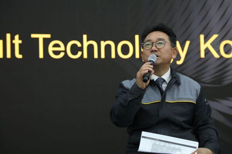 권상순 르노테크놀로지코리아 연구소장이 15일 르노테크의 기술 개발 내용을 소개하고 있다./ 사진=르노삼성