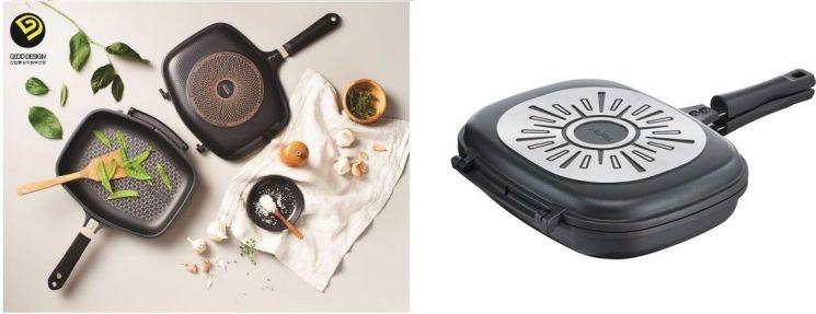 해피콜 '싱크로 IH 양면팬'(왼쪽), 테팔 '아이디얼 점보 양면팬'(오른쪽).