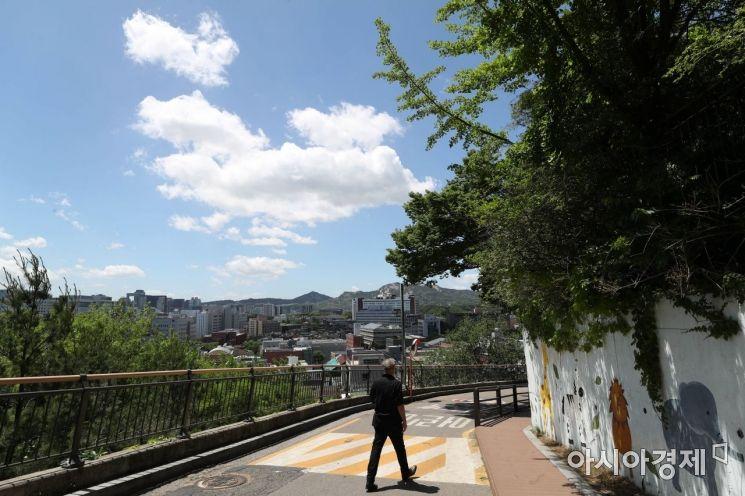 비가 그친 20일 서울 낙산길에서 시민들이 파란 하늘 아래 산책을 하고 있다. /문호남 기자 munonam@