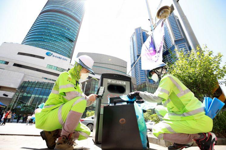 구로구, IoT 기반 '스마트 태양광 쓰레기통' 설치