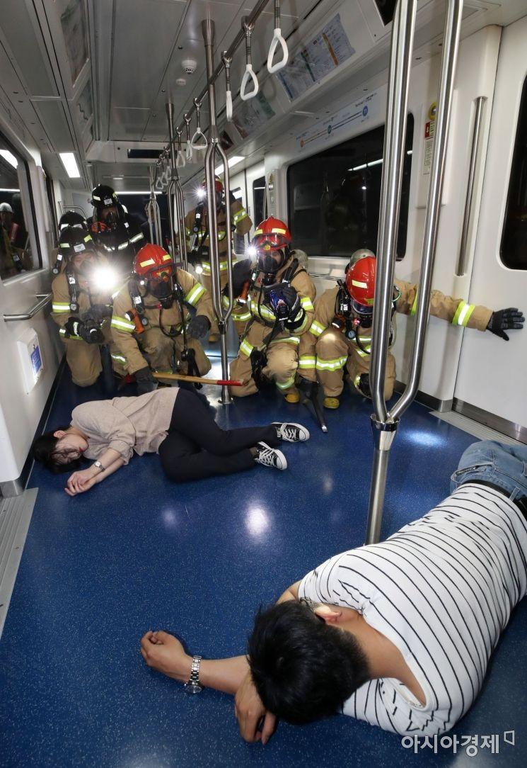[포토] 인천공항 셔틀트레인 화재 대응 훈련