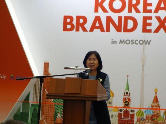 윤주현 디자인진흥원 원장이 러시아 모스크바에서 열린 '제3회 대한민국 브랜드 엑스포'에 참석해 인사말을 하고 있다.