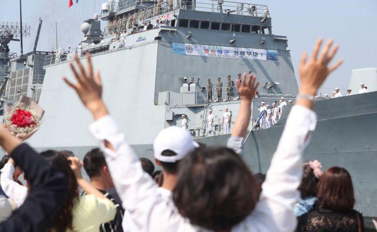 24일 오전 경남 창원시 진해구 진해 군항으로 청해부대 28진이 입항하고 있다. (사진=연합뉴스)