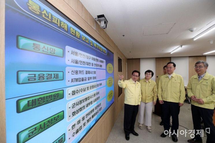 [포토] 통신피해 훈련 점검하는 유영민 장관