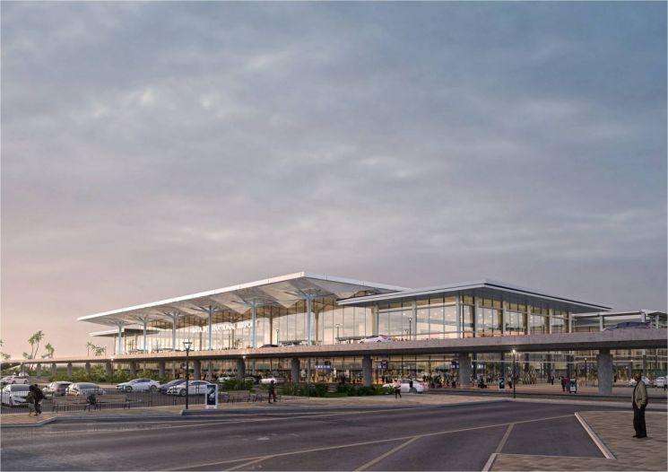 ▲쌍용건설이 단독 수주한 약 2200억원 규모 적도기니 바타 국제공항 투시도