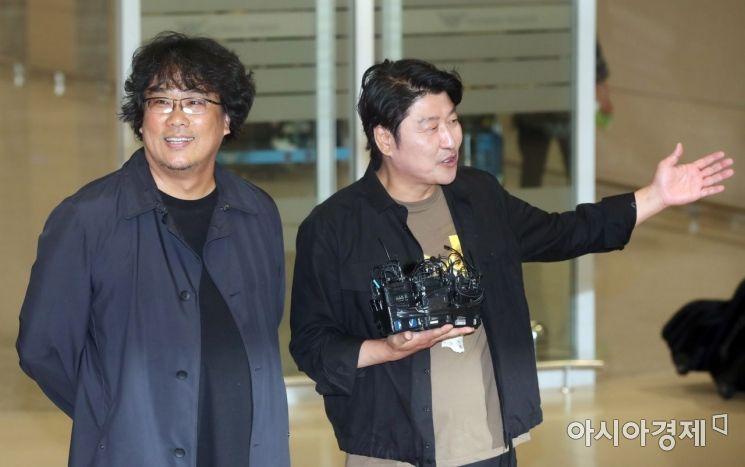 [포토] 인터뷰하는 봉준호 감독과 송강호