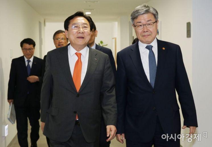 김기문 중기중앙회장과 이재갑 고용노동부장관