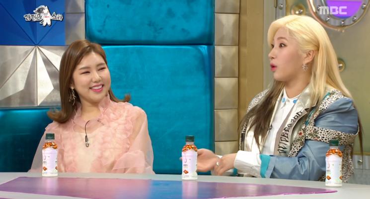 라디오스타에 출연한 자이언트핑크와 송가인 / 사진 = MBC 캡처