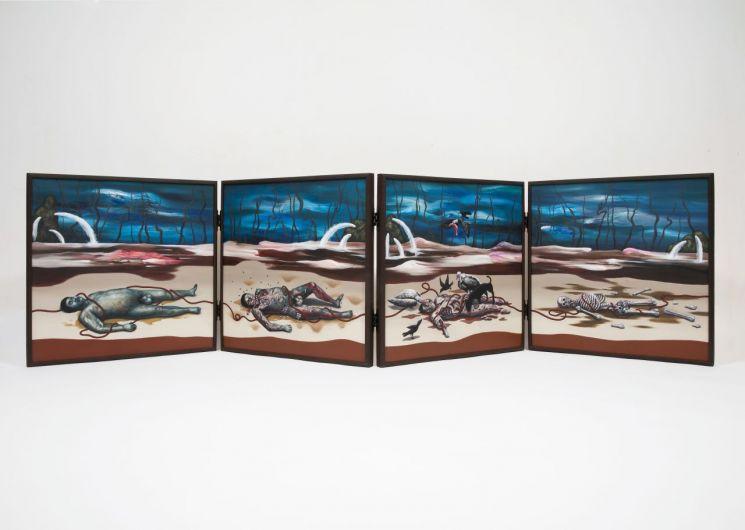 서고운 '사상도 Four Figure Paintings', oil on canvas, 66.9x267.6㎝, 2018  [사진= 갤러리 수 제공]